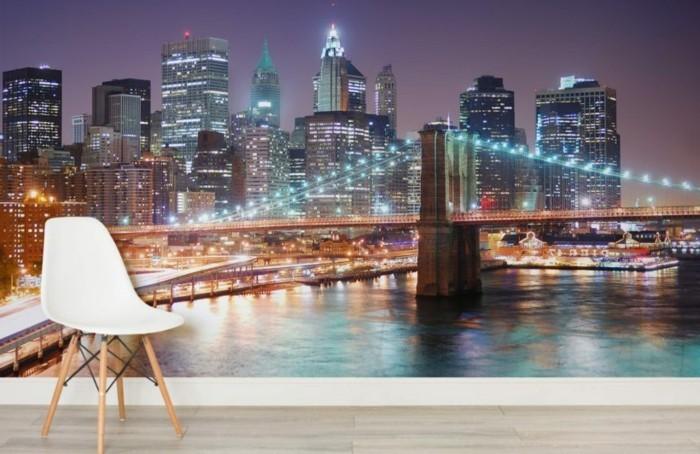 stickers-muraux-new-york-nuit-et-brooklin-bridge-posters-autocollants