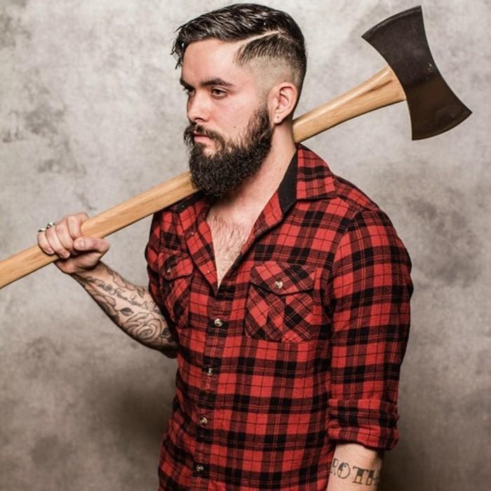 style-hipster-homme-chemise-carreaux-bucheron-barbe-longue-coupe-cheveux-pompadour-tatouages-tattoos
