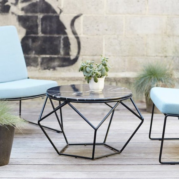 Table basse en marbre 58 id es pour donner du style au salon - Table en marbre noir ...