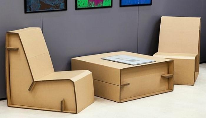Table Basse Et Chaise En Carton A Fabriquer