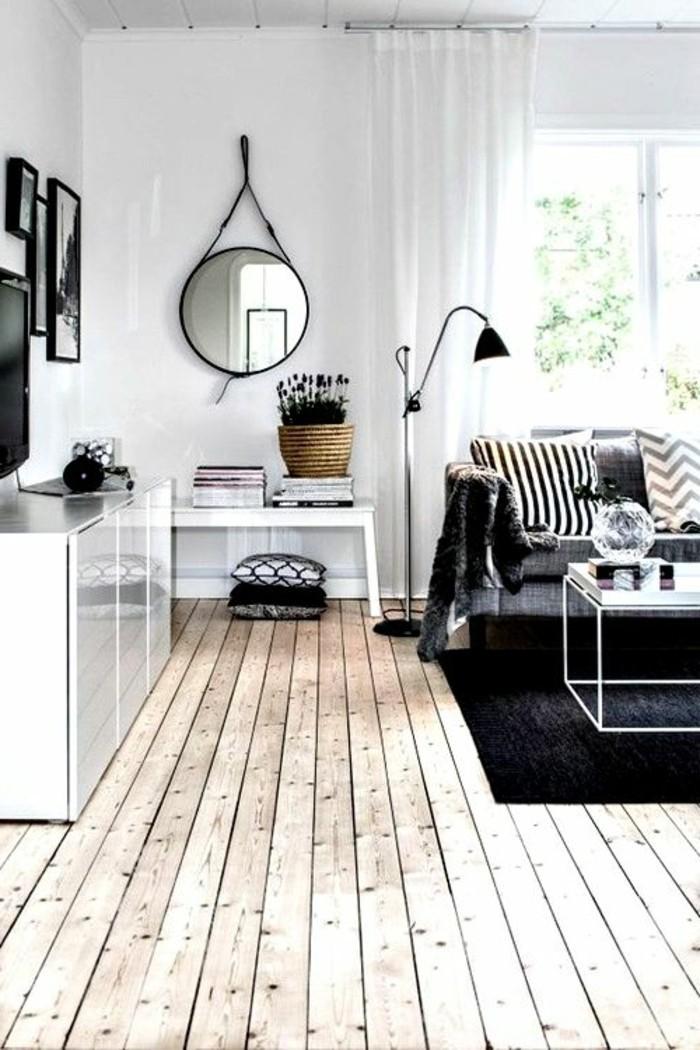 tapis-noir-sol-en-parquet-clair-canape-gris-lampe-de-lecture-noire-idee-deco-salon