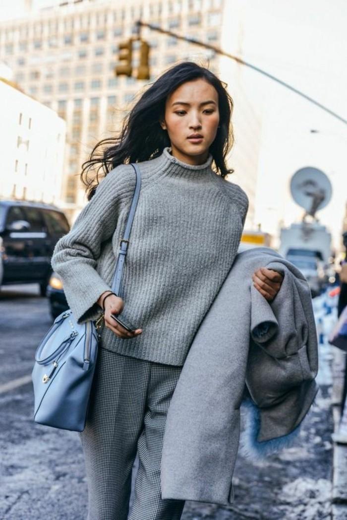 tenue-elegant-tendance-office-look-pull-en-laine-gris