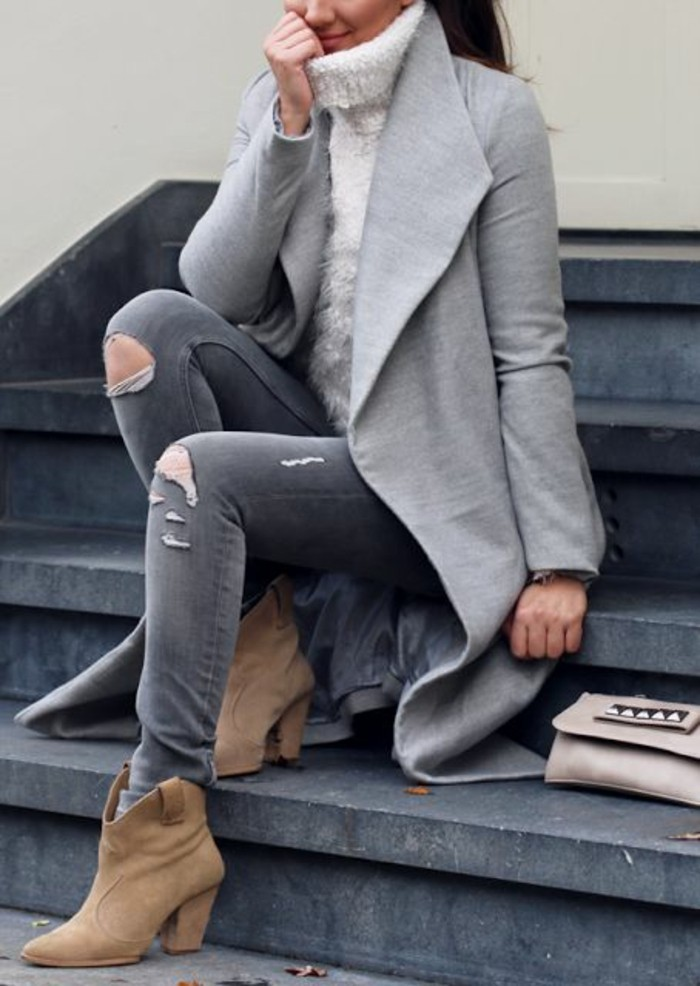 tenue-grise-bottines-en-cuir-velours-pull-chaud-femme-mohair