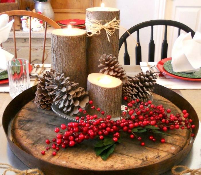 un-centre-de-table-magnifique-decoration-de-noel-a-fabriquer-soi-meme-bougeoirs-representant-des-buches-de-bois