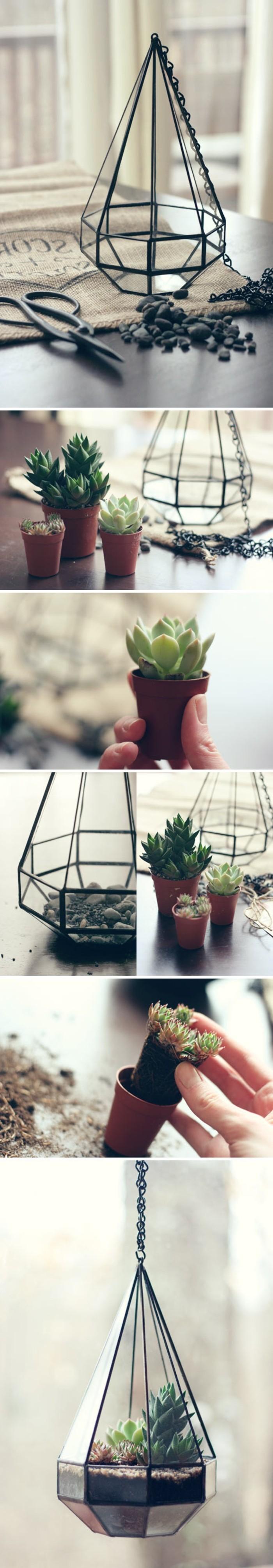 un tutoriel pour fabriquer un terrarium plante suspendu, joli effet ...