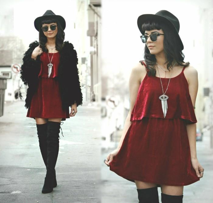 velvet-robe-velours-rouge-robe-droite-fluide-bottes-hautes