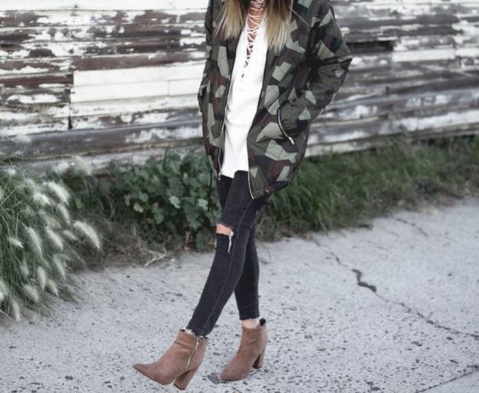 veste-femme-militaire-veste-bomber-jean-noir-troue