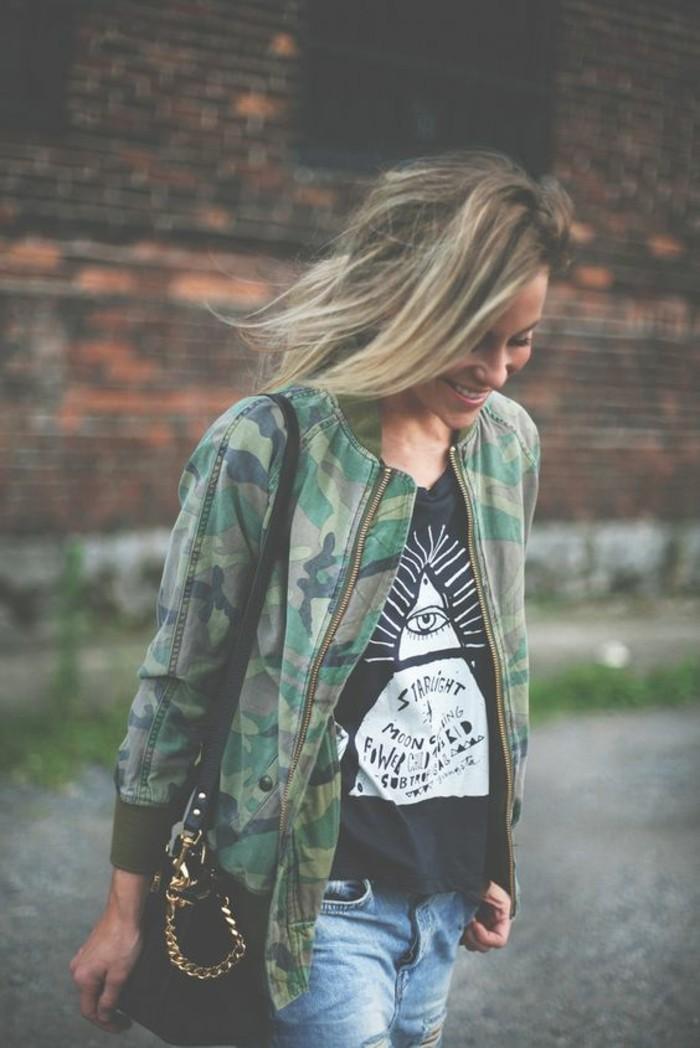 veste camouflage femme les tendances actuelles en photos. Black Bedroom Furniture Sets. Home Design Ideas