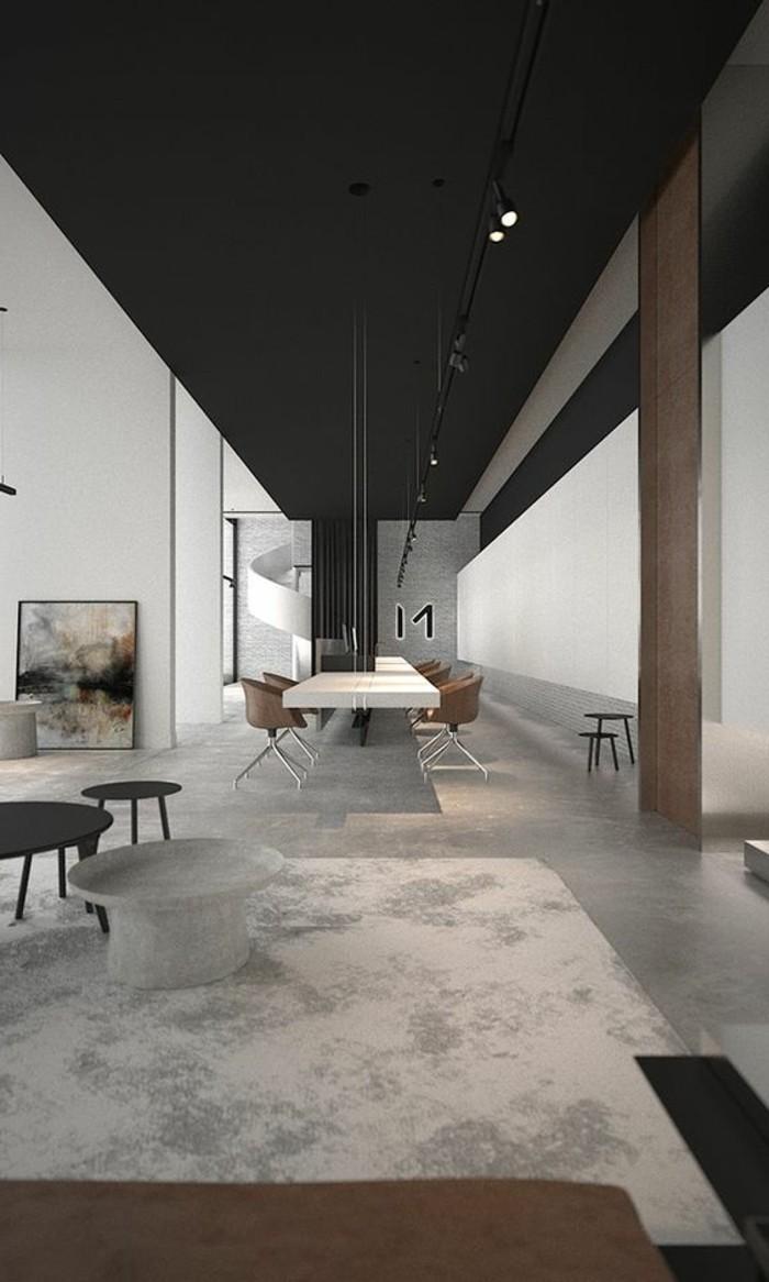 1-amenager-une-chambre-en-longueur-interieur-industriel-couleur-gris-noir-tapis-beige-table-laque-blanche
