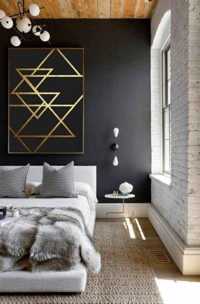 1-chambre-a-coucher-design-noir-et-blanc-tapis-en-rotin-lit-deux-places-mur-noir