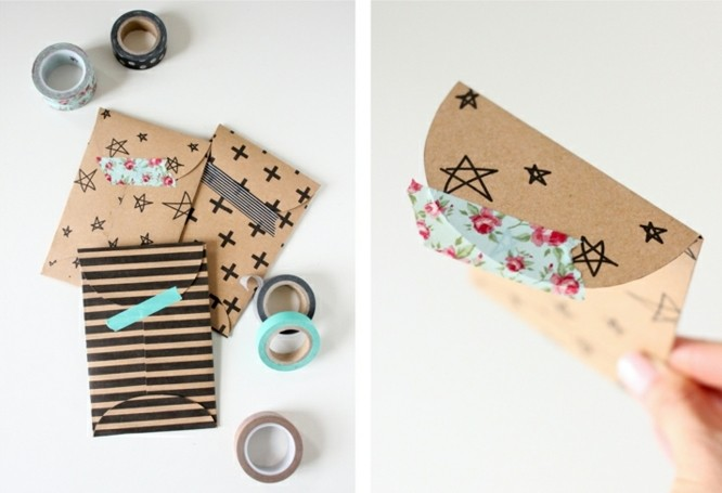 8bandes-de-masking-tape-pour-fabriquer-une-envoloppe-originale-de-papier-kraft-a-motifs-divers