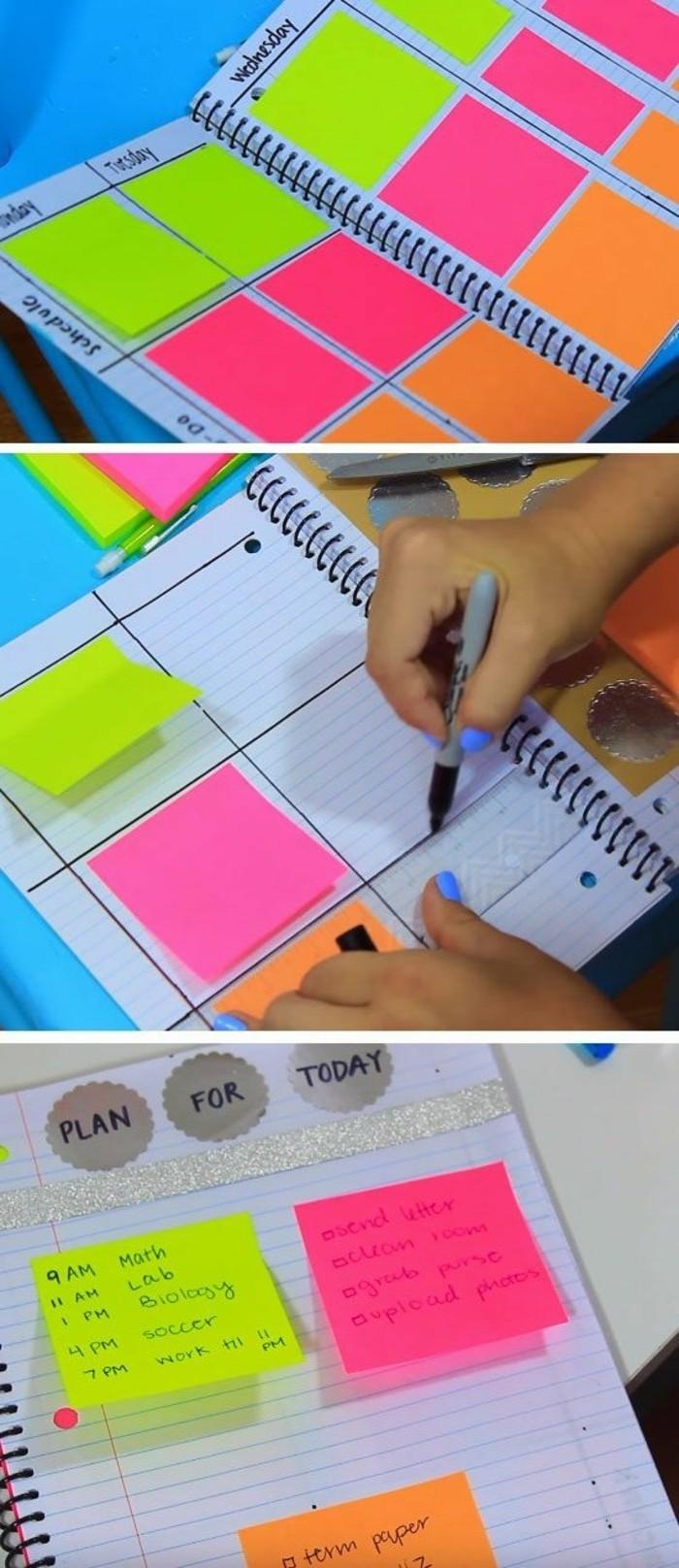 agenda-scolaire-personnalise-avec-de-feuilles-post-it-de-couleurs-differentes-idee-diy-sympa