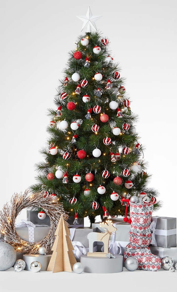 agrement-decoration-sapin-de-noel-rouge-et-blanc-etoile-blanche-belle-deco-simple-sapain