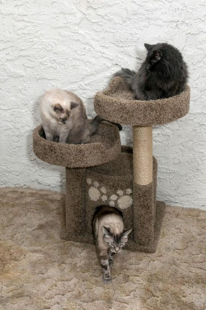 arbres-a-chats-petit-arbre-a-chat-un-niche-et-deux-lits-chat