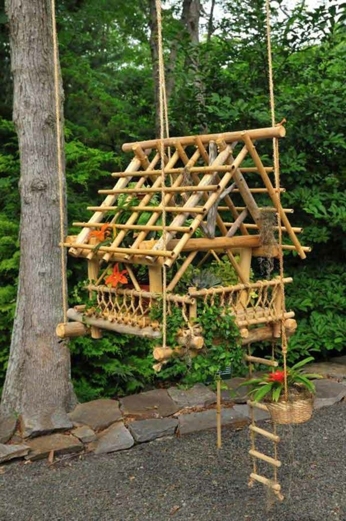 bambou-sec-maison-decoratives-pour-plantes-echelle-suspendue
