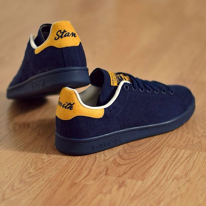 basket-stan-smith-homme-bleu-jaune-cuir-suede-limited
