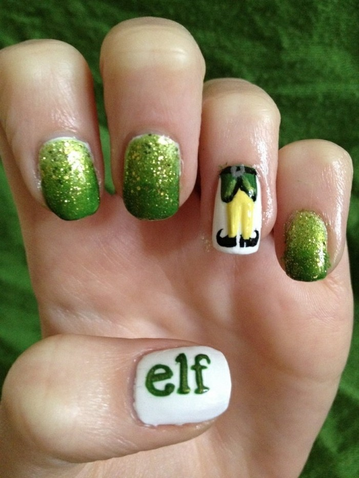 belle-idee-nail-art-hiver-ongles-pour-noel-vert-elf