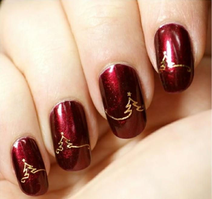 belle-idee-manucure-simple-en-rouge-nail-art-noel-facile-manicure-noel-mignonne