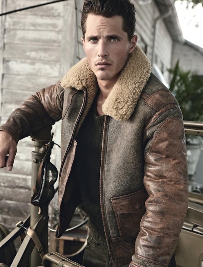 veste col en laine homme veste en cuir homme blouson bombardier aviateur en cuir noir col en laine m. Black Bedroom Furniture Sets. Home Design Ideas
