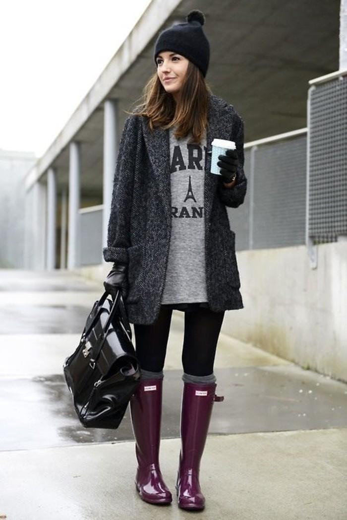 bottes-de-pluie-bordeaux-jambieres-grises-style-new-yorkaise