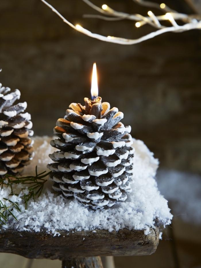 exemple de decoration pomme de pin facile, transformer une pomme de pin en bougie, déco de Noel fait main