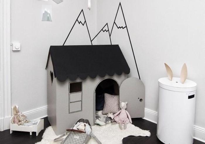 cabane-en-carton-grise-avec-une-toiture-noire-a-faire-soi-meme-pour-une-chambre-enfant-dans-un-style-scandinave