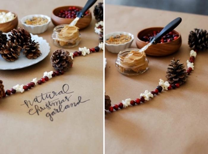 bricolage pomme de pin maternelle, idée fabrication de guirlande de Noël avec fruits séchées et pommes de pin