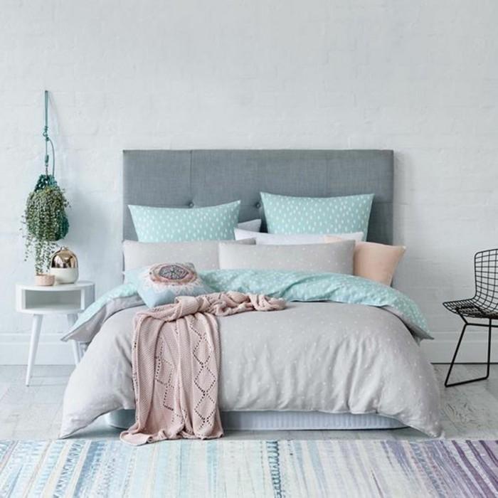 Chambre A Coucher Gris Et Bleu | Mobilier & Décoration