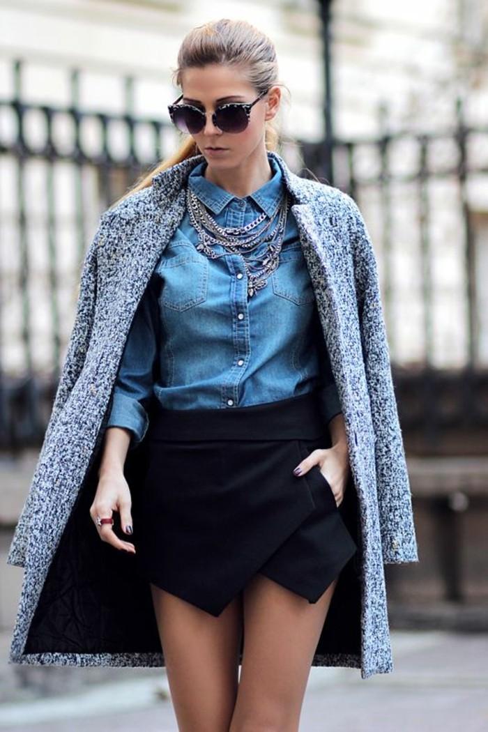 chemise-en-jean-jupe-coirte-et-manteau-femme-gris-chine