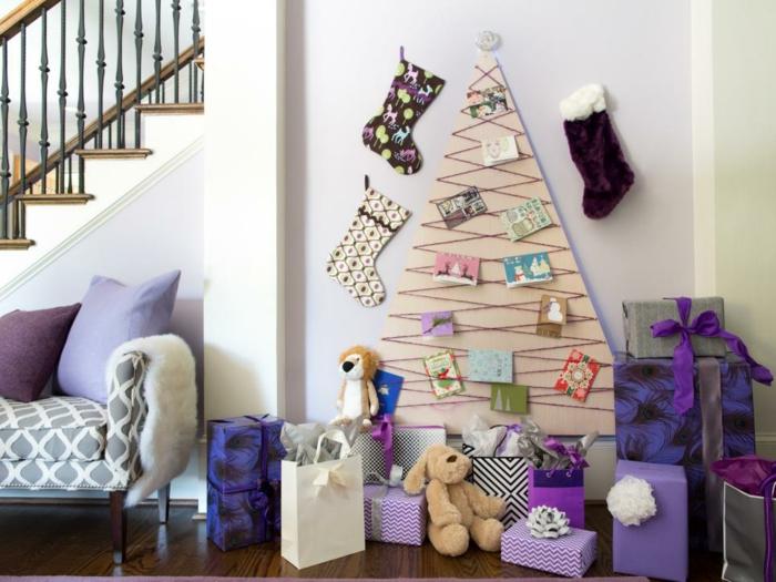 classique-deco-violet-sapin-moderne-en-bois-decoration-sapin-de-noel