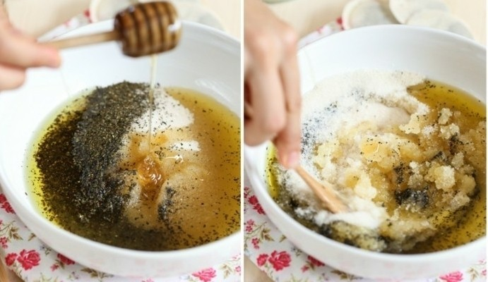 comment-faire-un-gommage-maison-recette-a-la-base-du-the-gommage-miel-sucre