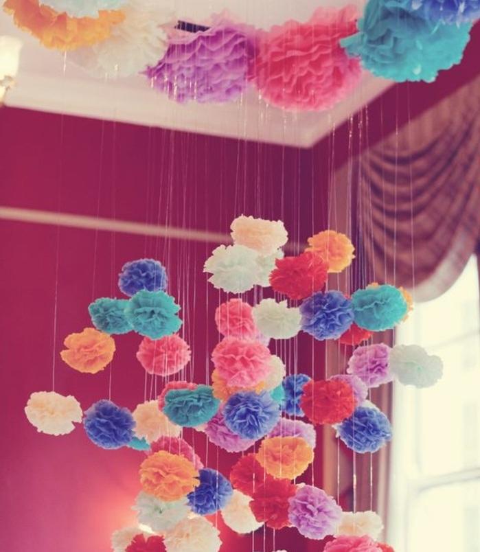 Fabriquer une fleur en papier de soie 67 id es diy - Pompon en papier crepon ...