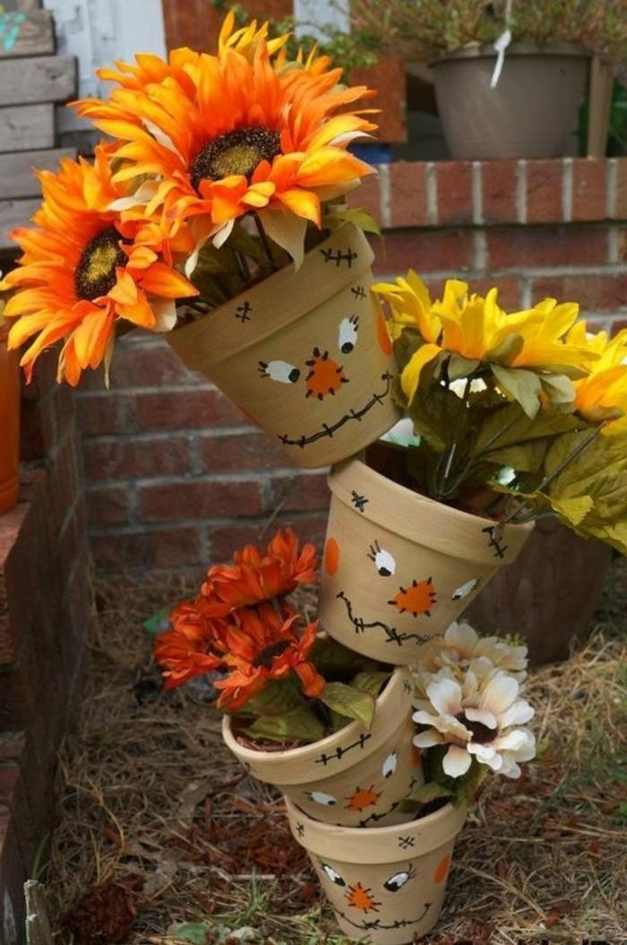 construire-un-epouvantail-idee-deco-diy-avec-trois-pots-de-fleur