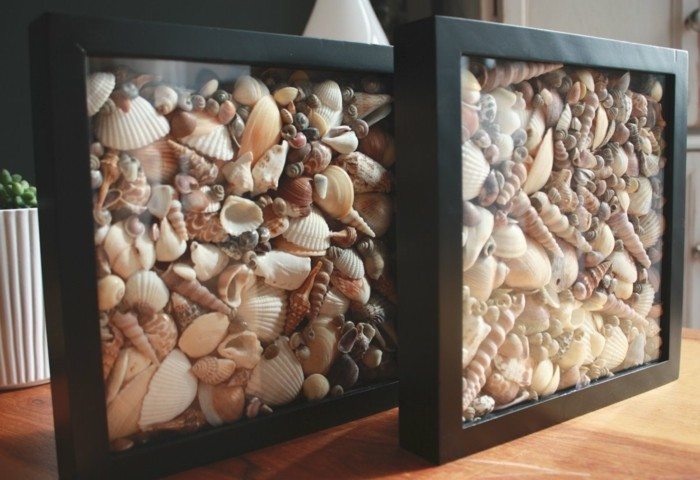 coquillage-dessin-cadre-photo-en-noir-decoration-moderne-et-marine