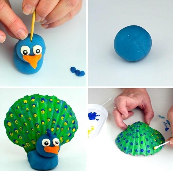 coquillage-dessin-comment-faire-un-compagnon-paon-en-bleu-et-vert