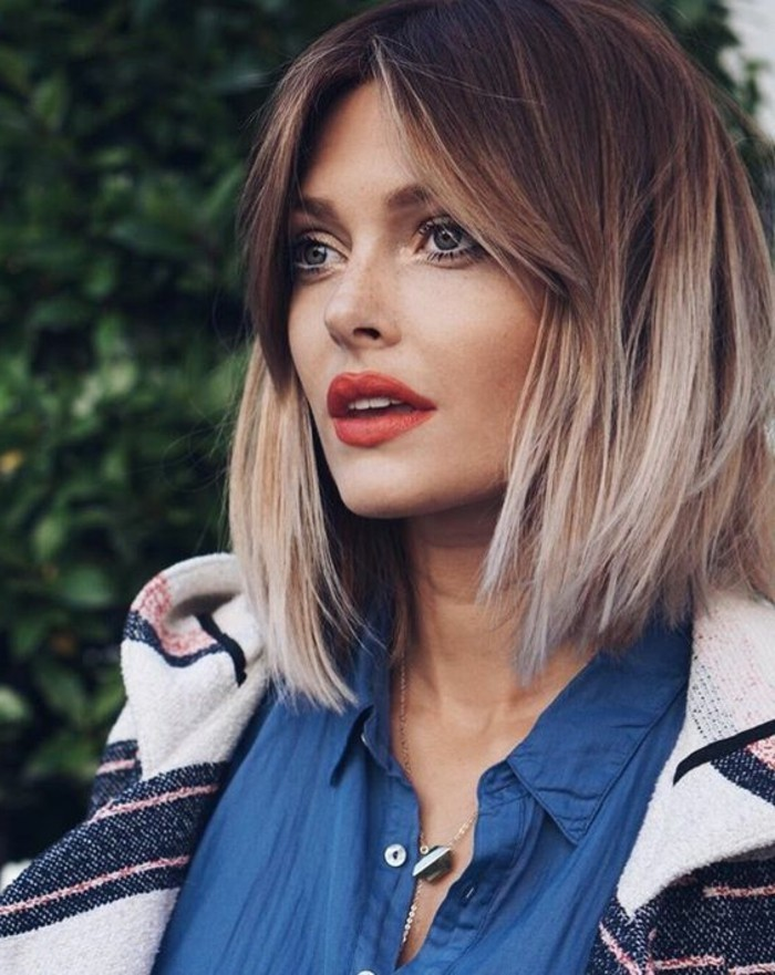 coupe-au-carre-femme-couleur-chatain-meches-blondes
