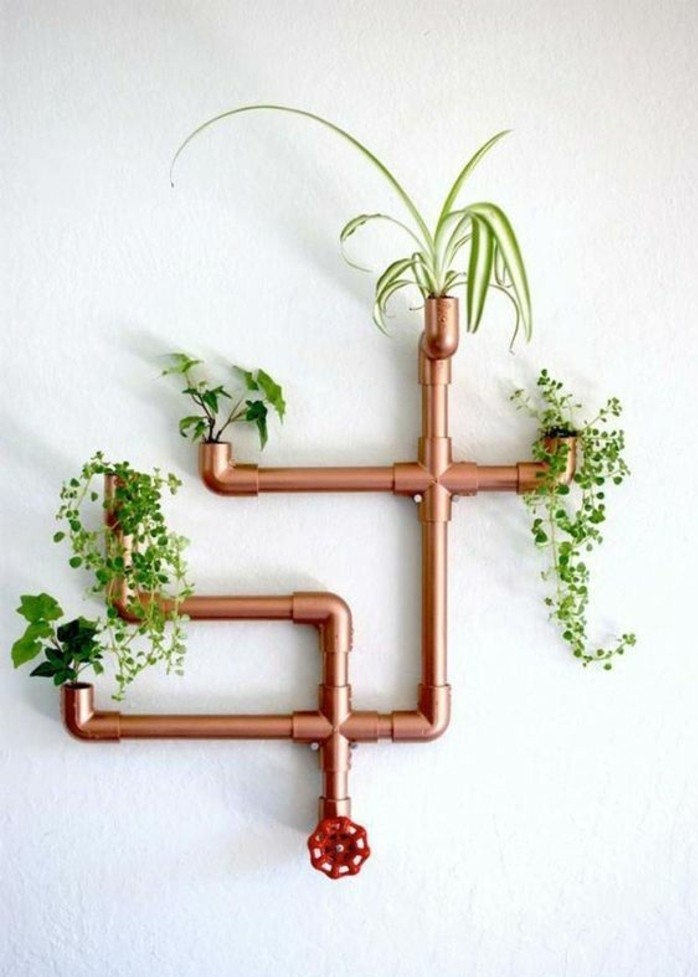 50 id es pour int grer le tube de cuivre dans votre d cor Porte plante exterieur