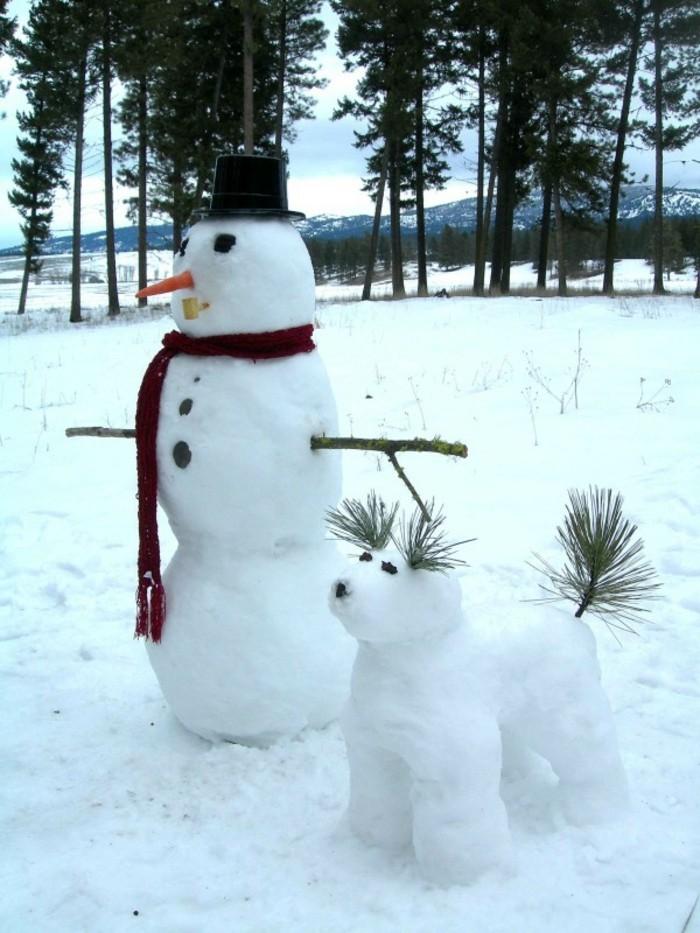 creer-un-bonhomme-fabriquer-un-bonhomme-de-neige-bonhomme-et-son-chien