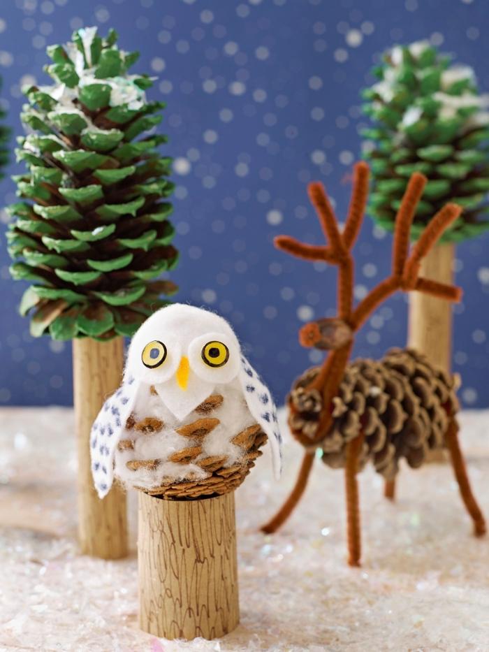 idée activité manuelle automne hiver facile, bricolage de noel pour petits, diy hibou en pomme de pin avec ailes et tête en feutrine