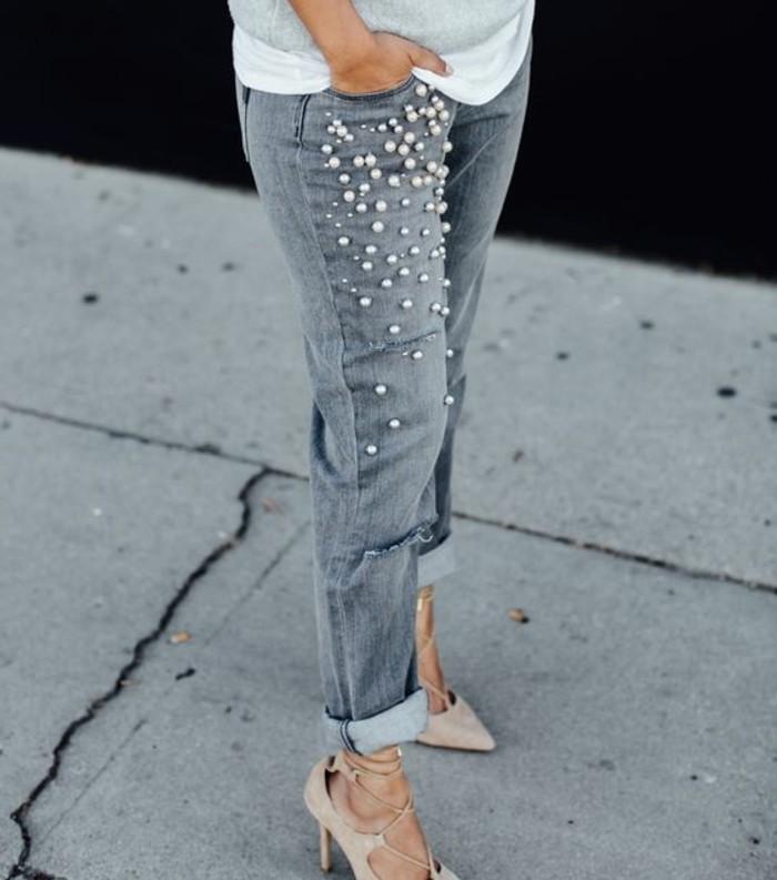customiser-un-jean-modele-gris-en-perles-blanches-moderne-feminine-blouson-gris