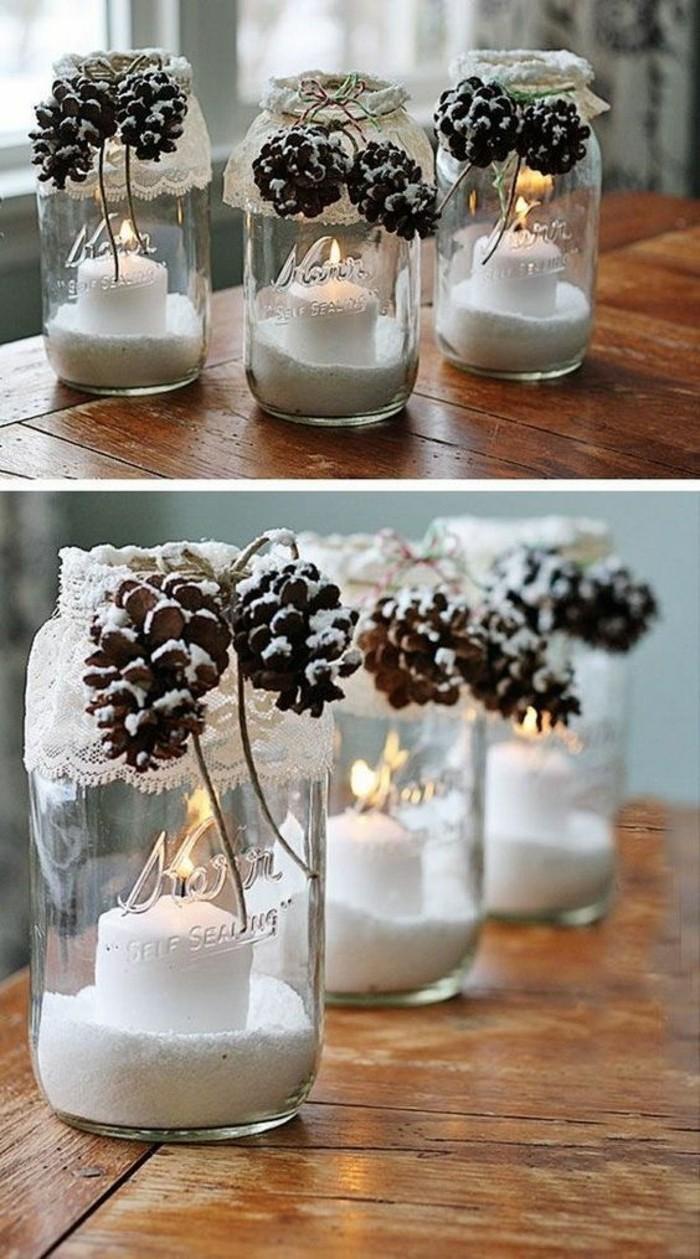 decoration-noel-bocal-bougies-pommes-de-pin