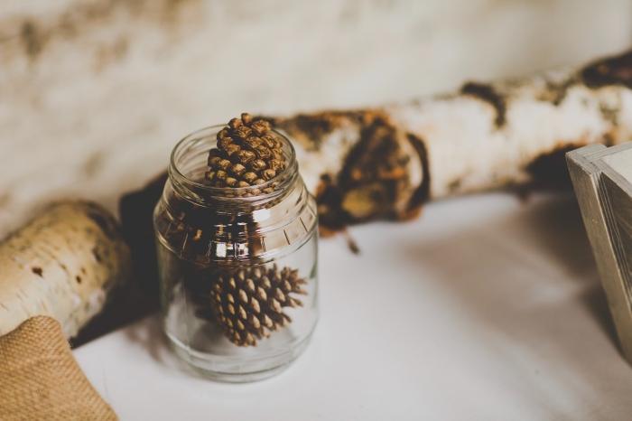 que faire avec des pommes de pin pour noel, idée de déco minimaliste pour Noël avec un bocal verre et pommes de pin
