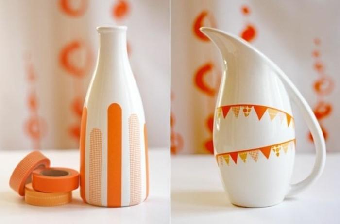 de-la-vaisselle-decoree-de-bandes-de-ruban-adhesif-decoratif-oranges-deco-a-faire-soi-meme