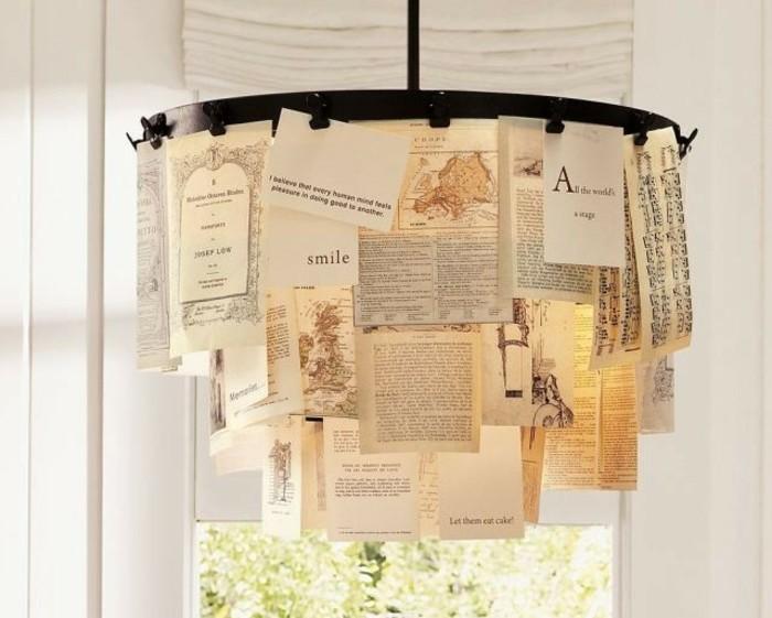 de-petits-feuilles-de-papier-accrochees-sur-un-lustre-pour-fabriquer-un-abat-jour-industriel-soi-meme