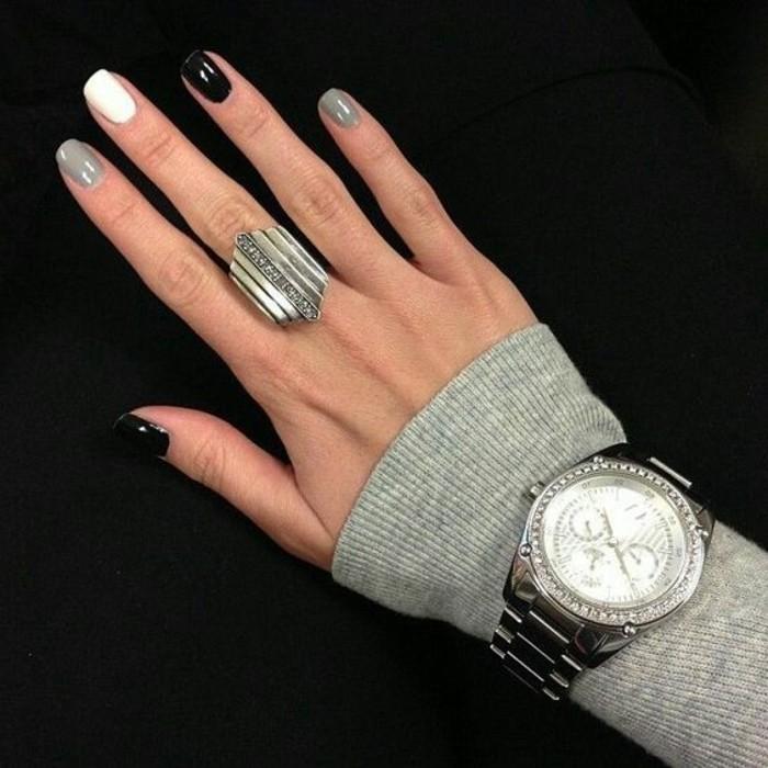 Ongles noir et gris - Deco noir blanc gris ...