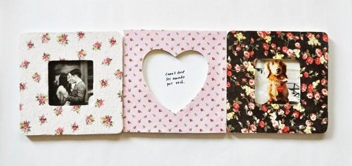 des-cadres-photo-decores-de-tissu-a-motifs-floraux-idee-comment-fabriquer-un-cadre-photo