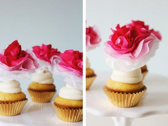 des-cupcakes-delicieux-decores-de-fleur-papier-de-soie-rose-de-nuances-differentes