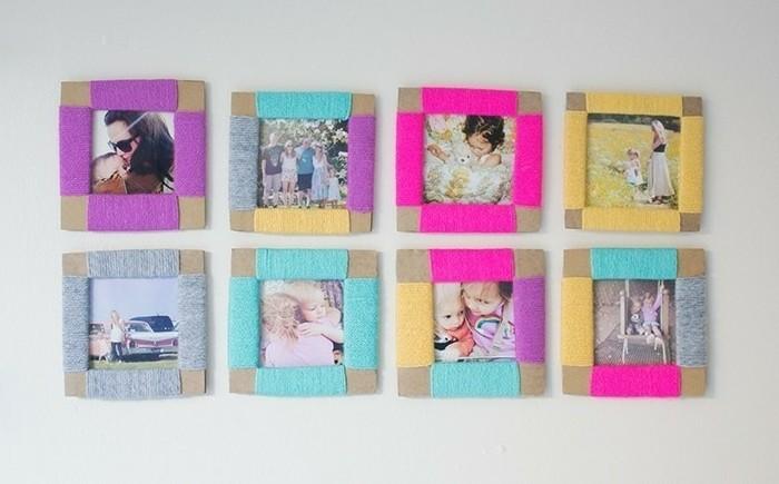 des-encadrements-en-carton-laine-multicolore-enroulee-tout-autour-fabriquer-cadre-photo