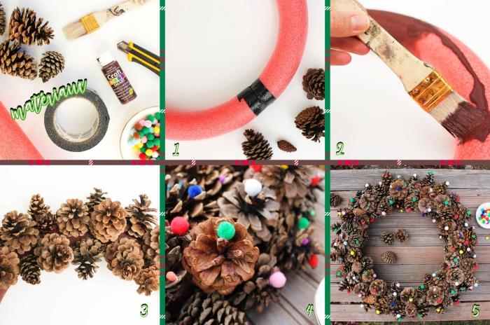 étapes à suivre pour fabriquer une couronne de Noël en pommes de pin, idée de bricolage noel facile avec pommes de pin