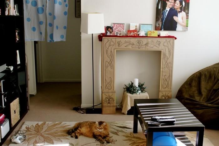 faire-une-cheminee-chat-table-de-bois-rideau-blanc-et-bleu